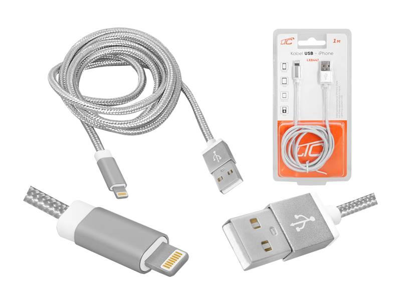 Przyłącze USB Lightning iPhone 5/6/7 2m srebrne