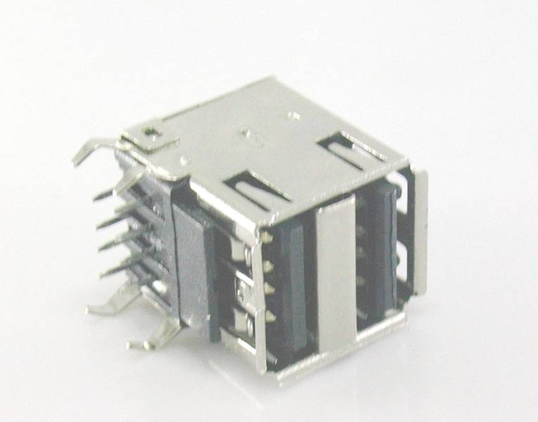 Gniazdo USB A x2 THT druk podwójne