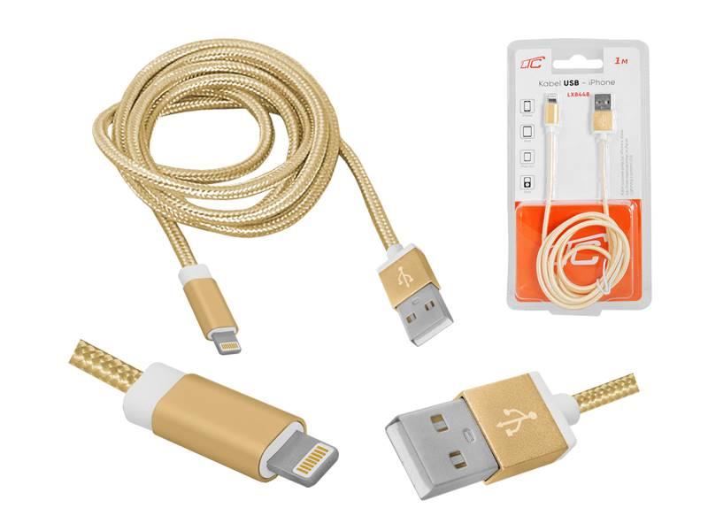Przyłącze USB Lightning iPhone 5/6/7 2m złote