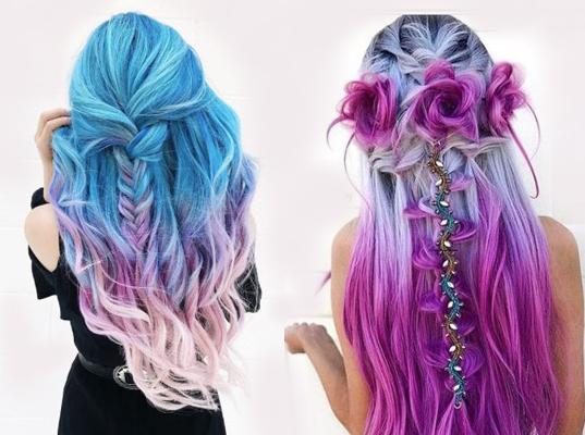 włosy ombre niebiesko różowe na dwóch modelkach