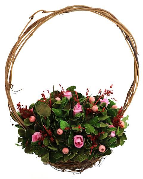 Sztuczne kwiaty w koszyku RÓŻE lub JAJKA / Deco Wicker basket with ROSES 4052400651241