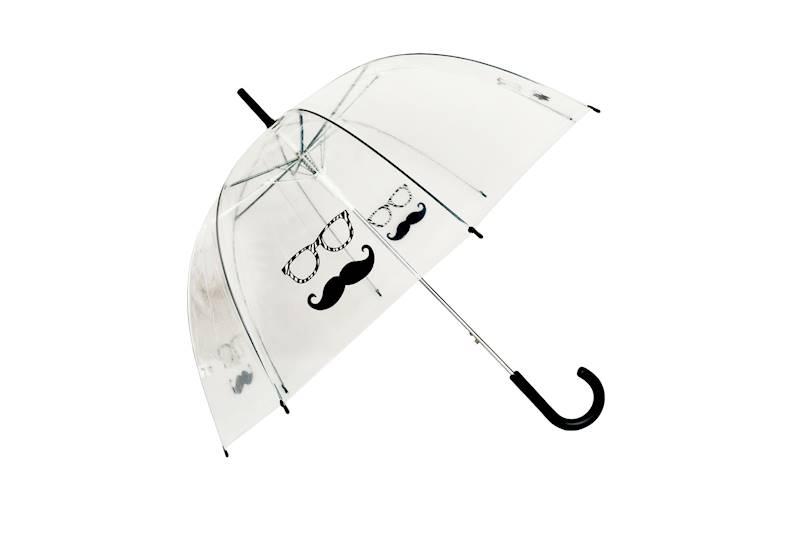 Parasolka PCV przezroczysta wąsy z okularami, 4 wzory, Florina / Umbrella PCV MOUSTACHE AND GLASSES 6928231214727