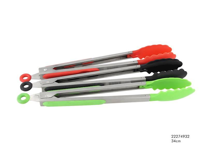 GRILL STALOWE SZCZYPCE Z SILIKONOWYMI UCHWYTAMI 34cm / Stainless steel/plastic pliers 34 cm 8712442114802 / 22274932