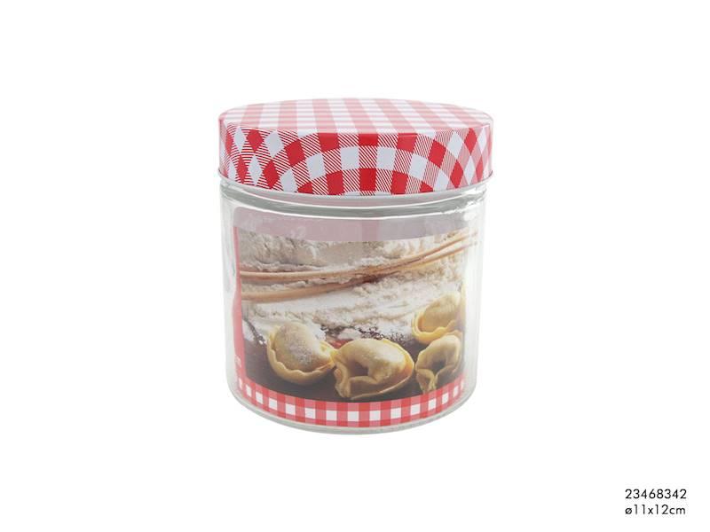 Pojemnik szklany z metalową pokrywką,12,5 cm, 750ml / Glass kitchen container 12,5 cm 8712442123217 / 23468342