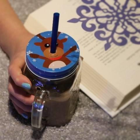SŁOIK SZKLANY/KUBEK ZE SŁOMKĄ I METALOWĄ ZAKRĘTKĄ / Glass Jar Mug Xmas with straw 23468308/ 8712442130901