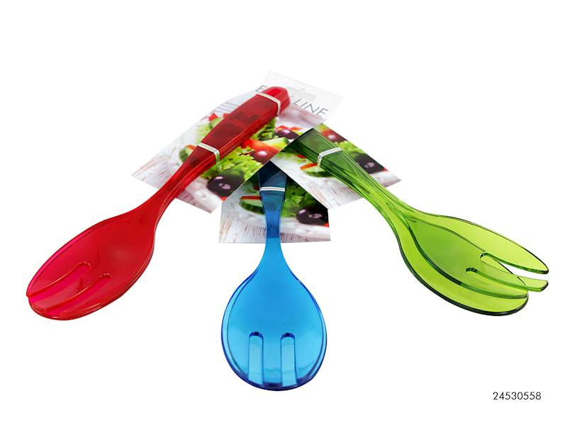 PARTY Zestaw do sałatek, plastikowy widelec i łyżka, 3 kolory / Plastic colour salad set 2 pcs 8712442108344 / 24530558