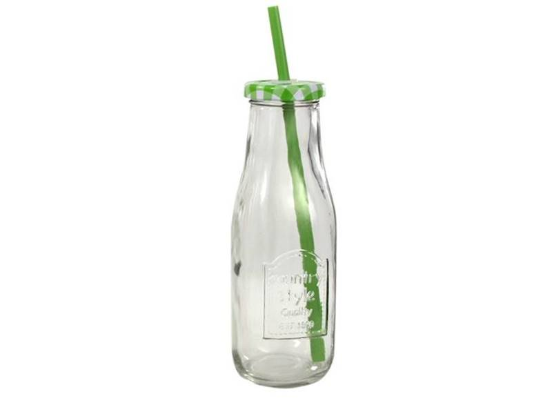 PARTY szklana butelka ze słomką KRATKA 250 ml / Glass juicy / milk bottle straw 250ml 23468288 / 8712442127895