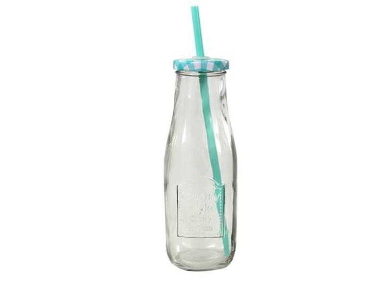 PARTY szklana butelka ze słomką KRATKA 400 ml / Glass juicy / milk bottle straw 400ml 23468278 / 8712442128021