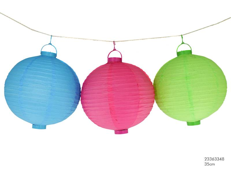 LED LAMPION PAPIEROWY OWALNY 3 kolory, 35cm / LED Paper ball garden light 35cm 8712442111733 / 23363348 Colours
