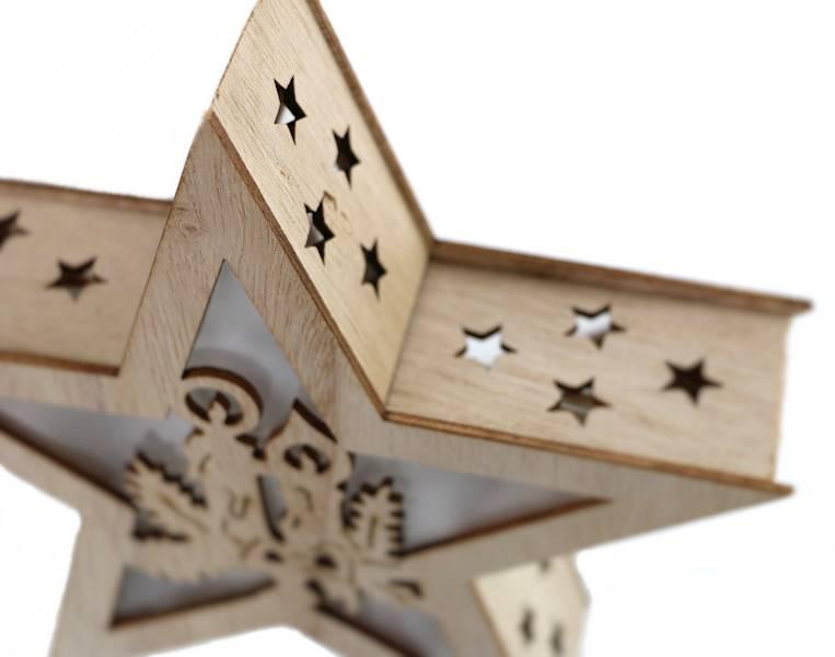 LED Gwiazda drewniana witraż 20 cm / LED wooden star 20 cm - light 8712442117643 / 23103224
