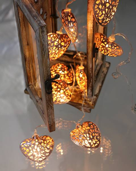 Lampki ledowe serca miedziane / LED Heart Cooper 10 pcs warm led light 23120764 8712442136941