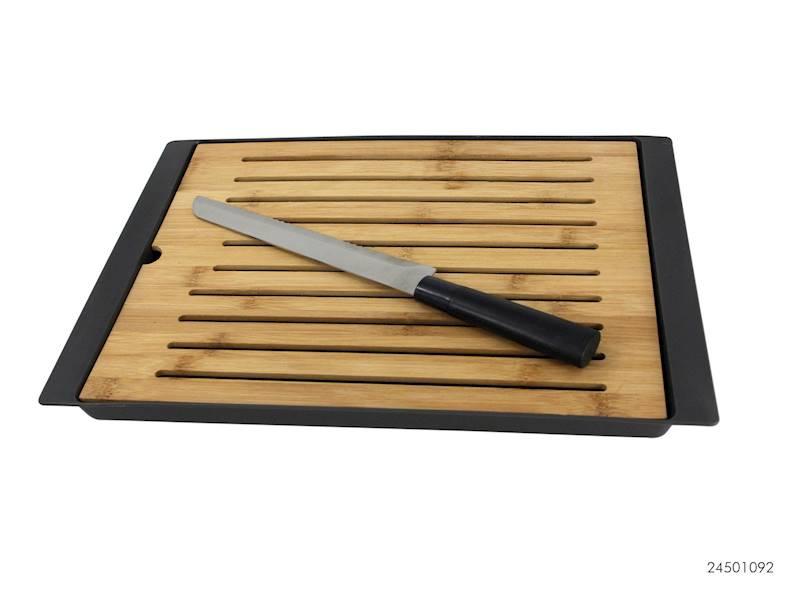 Deska do krojenia chleba bambusowa z podstawką+ nóż / Bamboo/nylon cutting board + bread knife 24501092 8712442150824