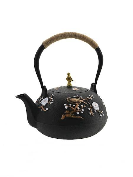 ŻELIWO-żeliwny czajniczek w stylu japońskim 1 l z ptaszkiem /  Cast iron japanese teapot 1 l gold bird 8712442998808 / 22170626