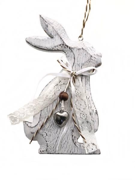 Zawieszka dekoracyjna zajączek 8x15 cm / Deco Rabbit wooden pendant 5901466827376 / PL0068