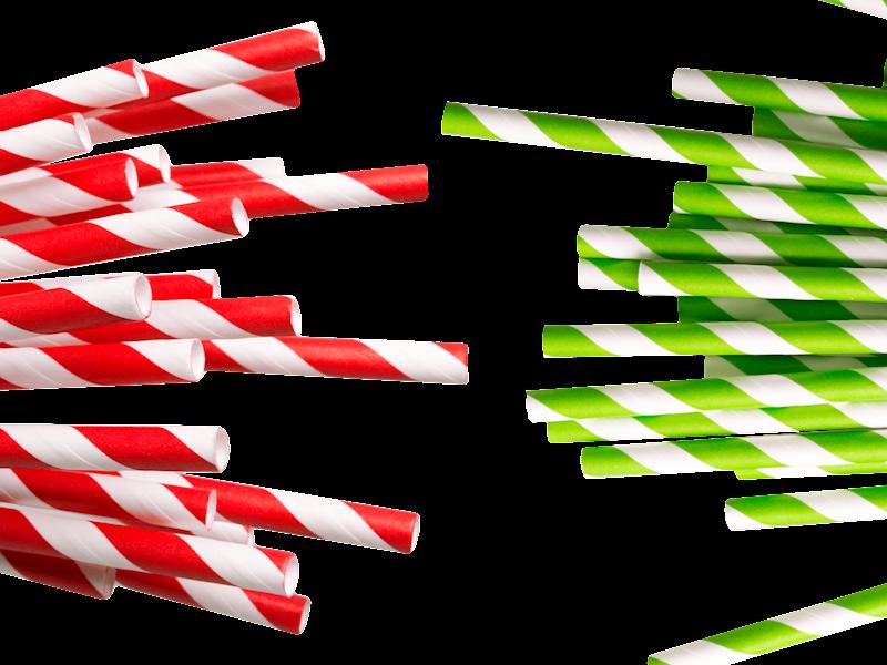 PARTY słomki papierowe 40szt., 4 kolory, 19cm / Paper straws color - PCV box set 40 pcs 8712442130987 / 22285106