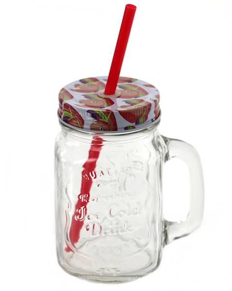 SŁOIK SZKLANY / KUBEK ZE SŁOMKĄ I METALOWĄ ZAKRĘTKĄ JEDNOROŻEC / Glass mug/jar with lid and straw 4038732400382 / 40038