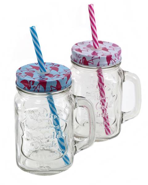 FLAMINGO SŁOIK SZKLANY/KUBEK ZE SŁOMKĄ I METALOWĄ ZAKRĘTKĄ  / FLAMINGO Glass mug/jar with lid and straw 4038732755208 / 75520