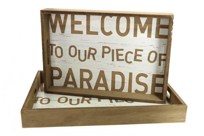 MARINE Zestaw 2 tac dekoracyjnych, 2 wzory / MARINE Deco wooden tray set of 2, 4047096737706 / 73770