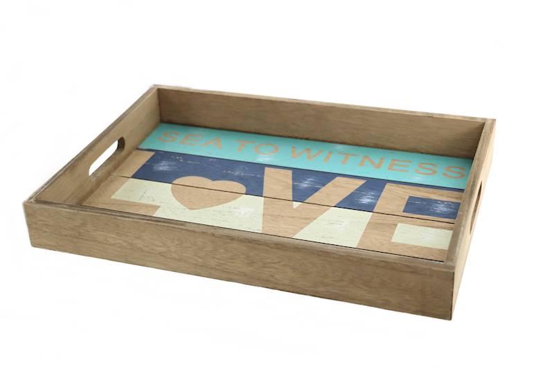 MARINE Drewniana taca dekoracyjna LOVE, 39,5x27,7x5cm / MARINE Deco wooden tray maritime with heart, 73902 4047096739021