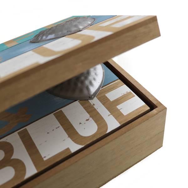 MARINE Zestaw 2 dekoracyjnych pudełek z drewna / MARINE Deco wooden box, set 2, 4047096738994 / 73899