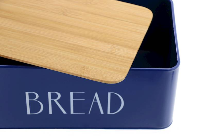 Chlebak metalowy z deską bambusową Bread Granat / Metal Bread box with bambo board 22172381 NL BLUE / 8712442156826