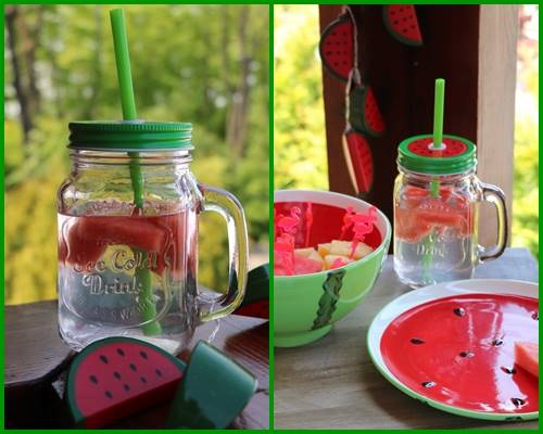 PARTY ARBUZ SŁOIK SZKLANY/KUBEK ZE SŁOMKĄ I METALOWĄ ZAKRĘTKĄ  / Watermelon glass mug with straw 450 ml 23468399 / 8712442151838