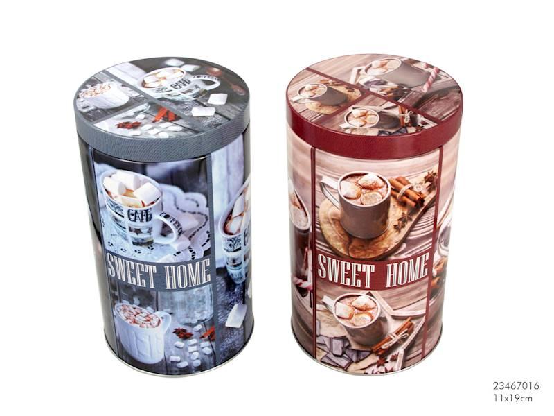 Metalowa puszka/pojemnik do żywności, 2 wzory, 11x18cm / Metal round box coffee 11x18cm 8712442157083 / 23467016