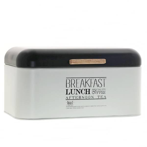 Chlebak metalowy z drewnianą rączką otwierany do góry BIAŁO-CZARNY / Metal Bread box wooden hand 22172358 WHITE&BLACK