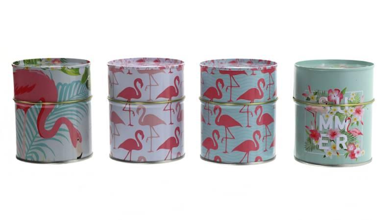 FLAMINGO Metalowa puszka/pojemnik, 4 wzory, 9,5x7,5cm / FLAMINGO Metal container 9,5x7,5cm, 4038732771345 / 77134