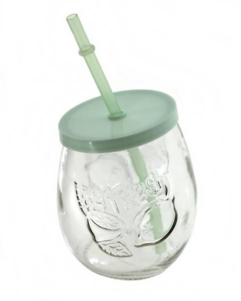 PARTY szklanka FRUIT ze słomką PLASTIK 400 ml / Glass mug fruit cup 400 ml straw 23468422 / 8712442155331
