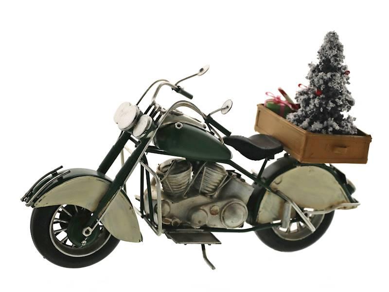 Deco figurka metalowy MOTOR z choinką 27cm 23100332
