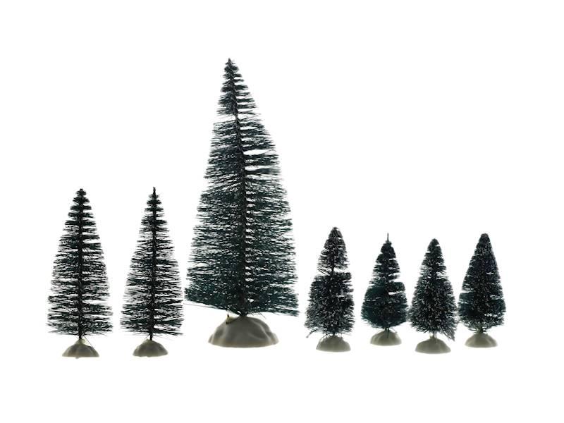 Deco szczotkowe choinki zielone kpl 7 na plastikowej podstawie 23104516/ Deco Xmas brush TREE green set of 7 23104516