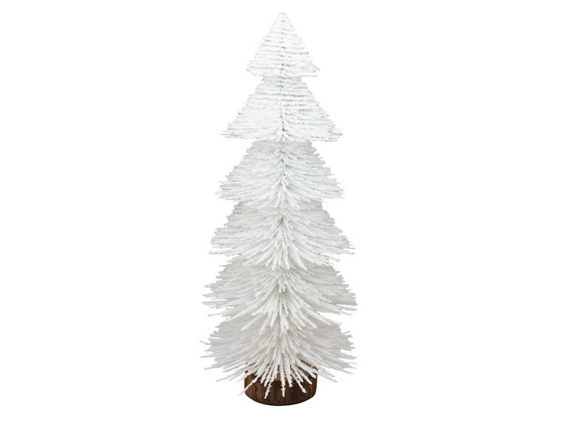 Deco szczotkowa choinka biała 32 cm na drewnianej podstawie 23104267/ Deco Xmas brush TREE white 32cm wood base 23104267
