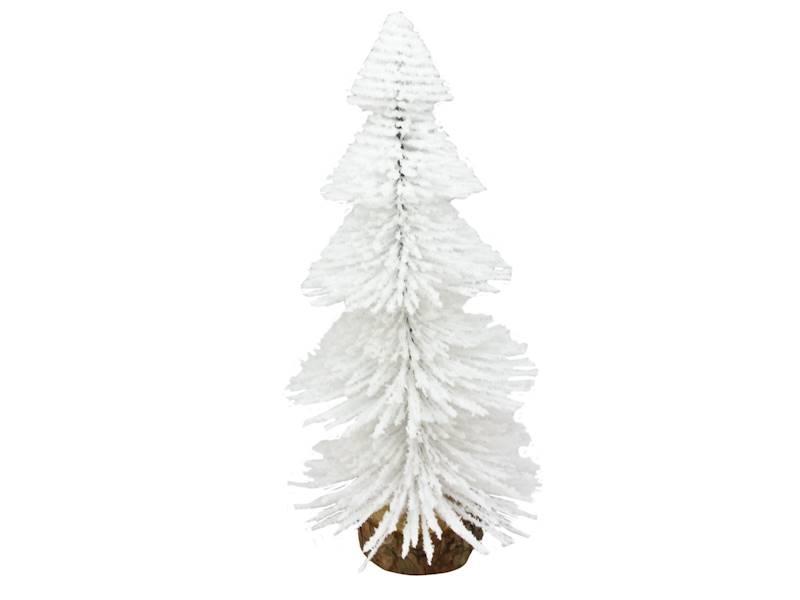 Deco szczotkowa choinka biała 22 cm na drewnianej podstawie 23104259/ Deco Xmas brush TREE white 22cm wood base 23104259