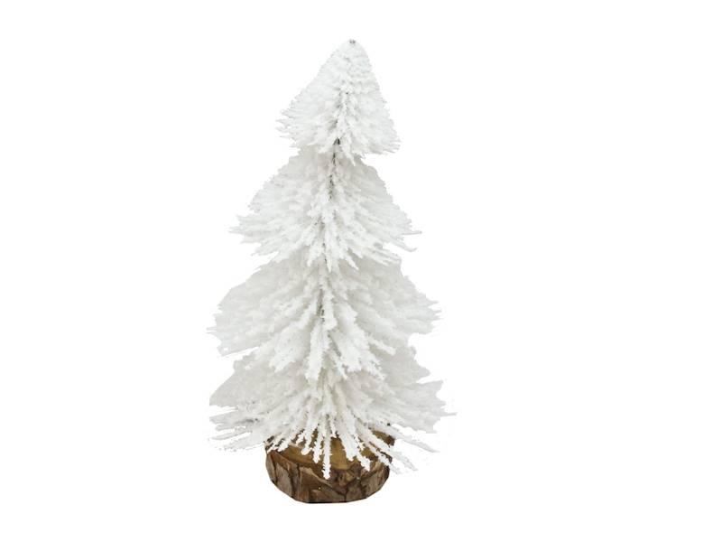 Deco szczotkowa choinka biała 17 cm na drewnianej podstawie 23104251/ Deco Xmas brush TREE white 17cm wood base 23104251