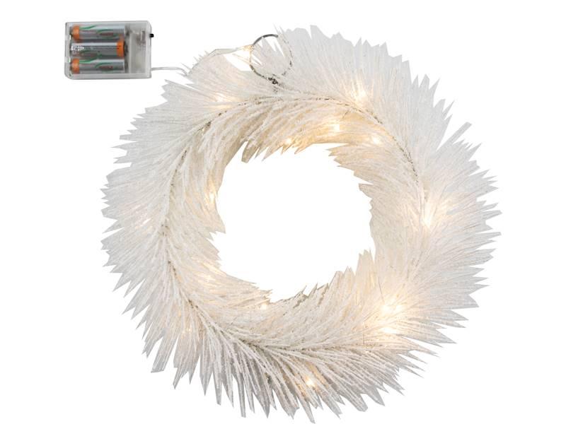 Deco zimowy wianek BIAŁY 20 led 30 cm na baterie AA/ Deco Winter wreath WHITE 20 led 30cm 3xAA 23124014