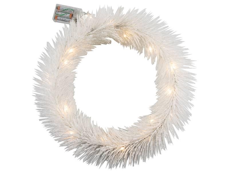 Deco zimowy wianek BIAŁY 20 led 40 cm na baterie AA/ Deco Winter wreath WHITE 20 led 40cm 3xAA 23124020