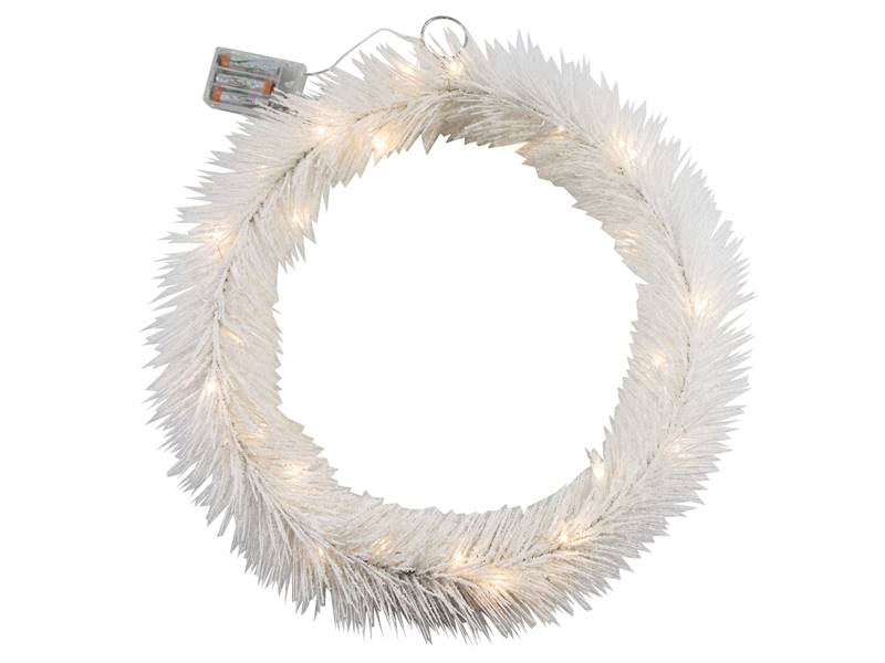 Deco zimowy wianek BIAŁY 30 led 50 cm na baterie AA/ Deco Winter wreath WHITE 30 led 50cm 3xAA 23124026