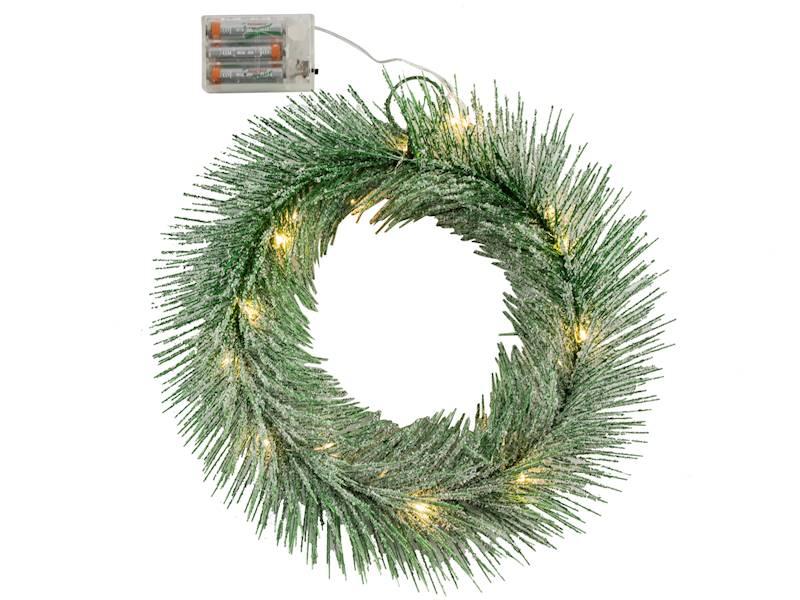 Deco zimowy wianek ZIELONY 20 led 30 cm na baterie AA/ Deco Winter wreath GREEN 20 led 30cm 3xAA 23124032