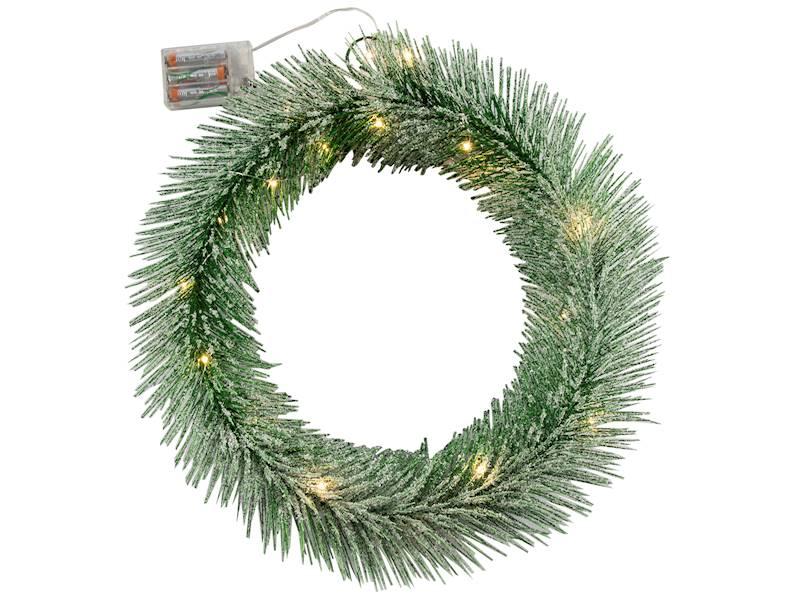 Deco zimowy wianek ZIELONY 20 led 40 cm na baterie AA/ Deco Winter wreath GREEN 20 led 40cm 3xAA 23124038