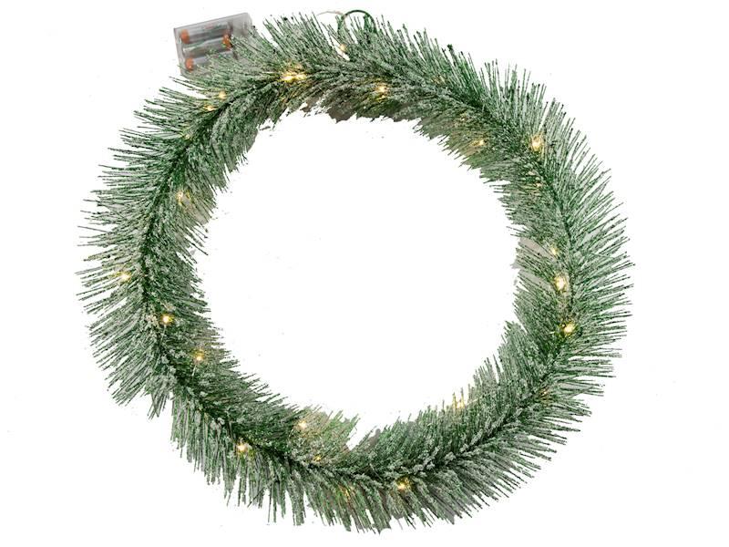 Deco Zimowy wianek ZIELONY 30 led 50 cm na baterie AA/ Deco Winter wreath GREEN 30 led 50cm 3xAA 23124044