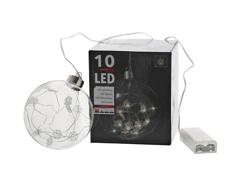 LED Glass ball 10cm 10 warm snowflake 23144113 AA
