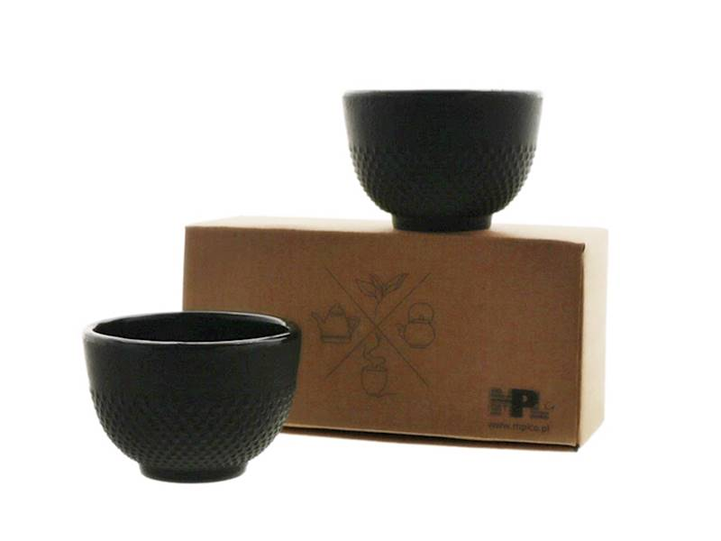 Cast iron japanese cups set of 2 pcs ONE BLACK
