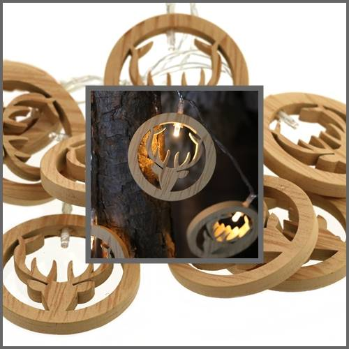 Lampki ledowe drewniane łosie 10 diod / LED Deer wooden warm 10 pcs 8712442164401 / 23121340