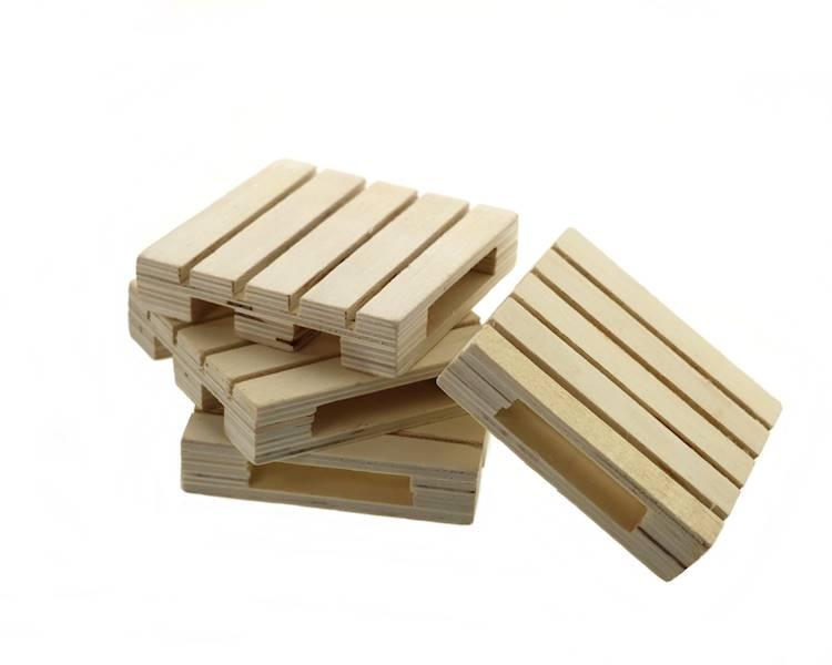 Drewniana minipaletka 4 szt 9x9x2 cm / Wooden pallet tray 9x9x2 cm set of 4 pcs 8712442945499 / 24500855