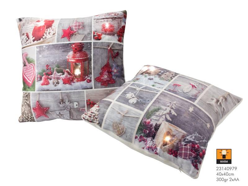 LED Świąteczna poduszka z wypełnieniem 40x40 / LED Pillow xmas 40x40cm 300gr 8712442159568 / 23140979