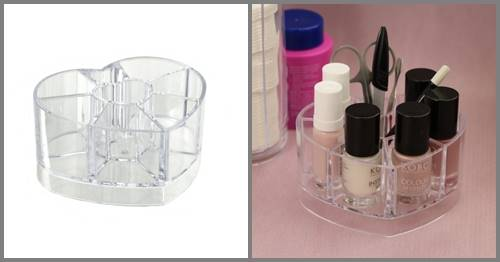 BEAUTY Pojemnik na lakiery organizer serce 10,5 cm / Bathroom Beauty Box heart 10,5 cm 8712442134589 / 24530926