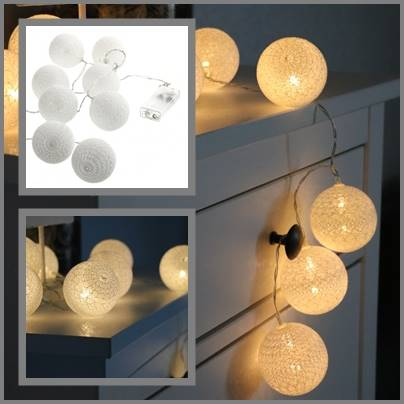 Lampki ledowe cottonball białe 10 szt na baterie / LED Cottonball white 10x BATERY 8712442953890 / 23362546