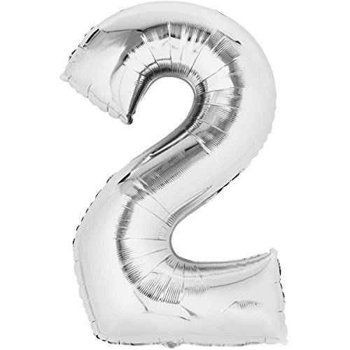 Balon foliowy SREBRNY cyfra 2 - do 80cm / Balloon number 2 - silver - 80cm 4038732711600 / 71160