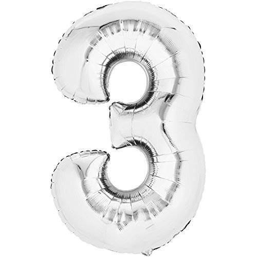 Balon foliowy SREBRNY cyfra 3 - do 80cm / Balloon number 3 - silver - 80cm 4038732711617 / 71161